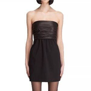 NWT Theory Amandie Leather Ruched Strapless Dress